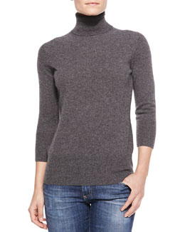 Neiman Marcus Cashmere 3/4-Sleeve Sweater, Women's