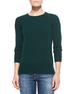 Neiman Marcus Cashmere Crewneck Sweater, Women's