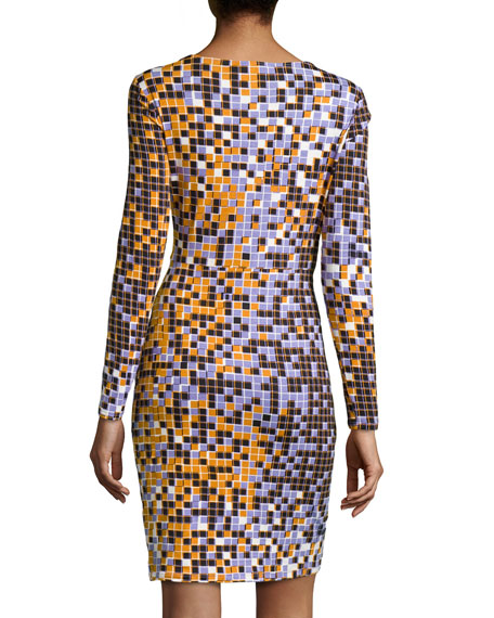 Pixel Print Tuck-Pleated Dress