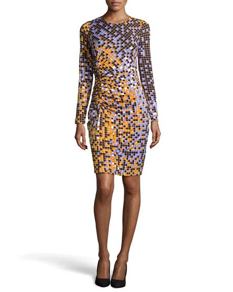 Pixel Print Tuck-Pleated Dress