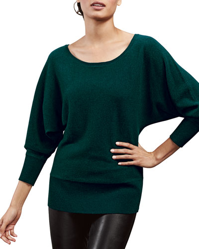 Neiman Marcus Cashmere Oversized Dolman Top, Women's