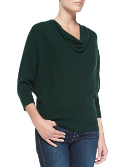 Neiman Marcus Cashmere Oversized Cowl-Neck Top