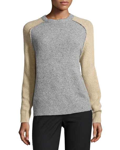 Wool-Cashmere Blend Colorblock Sweater, Heather Gray/Camel