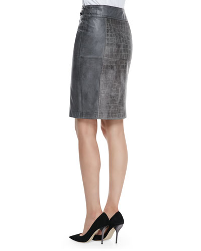 bagatelle croc embossed leather skirt