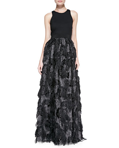 Milly Stella Sleeveless Fringed-Skirt Gown