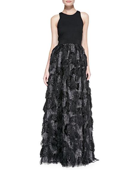 Stella Sleeveless Fringed-Skirt Gown