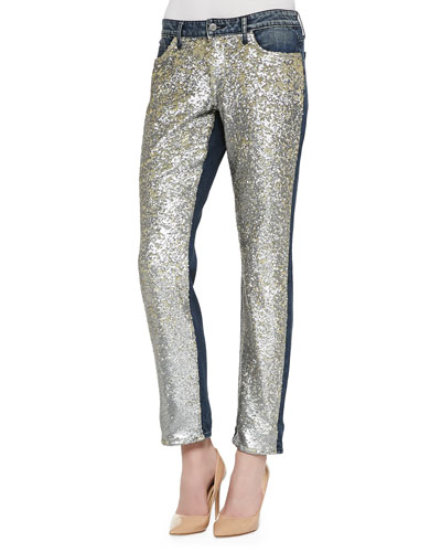 CJ by Cookie Johnson Keeper Boyfriend Sequined-Front Jeans, Starship