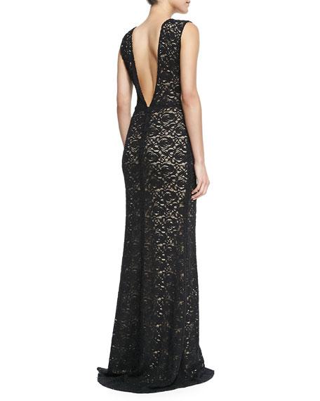 Mia Front-Slit Lace Gown