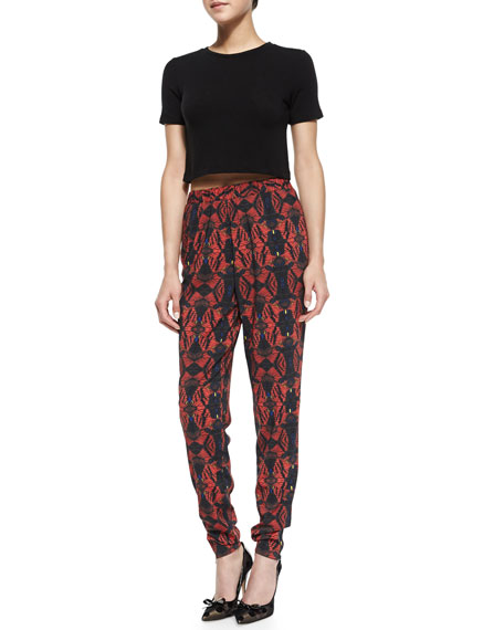 Printed Pull-On Tapered Pants