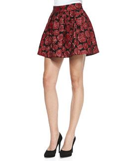 Alice + Olivia Fizer Shimmery Rose Jacquard Skirt