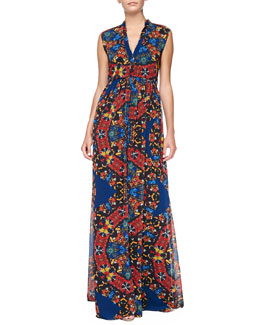 Alice + Olivia Marianna Printed Button-Front Maxi Dress
