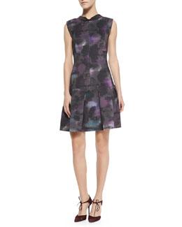 Rebecca Taylor Floral-Haze Mock-Neck Dress
