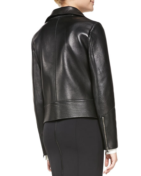 Leather Funnel-Neck Driving Jacket