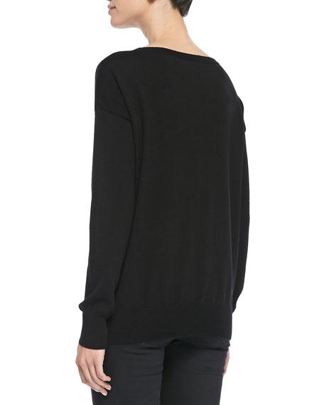Wool Intarsia-Knit Wolf Sweater