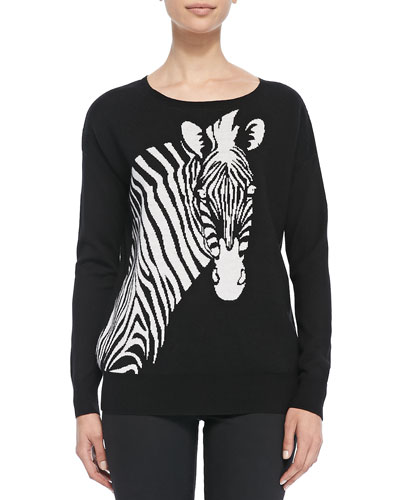 Wool Intarsia-Knit Zebra Sweater