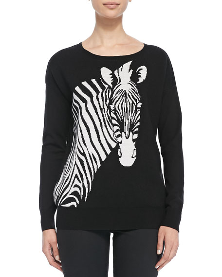 Wool Intarsia-Knit Zebra Sweater