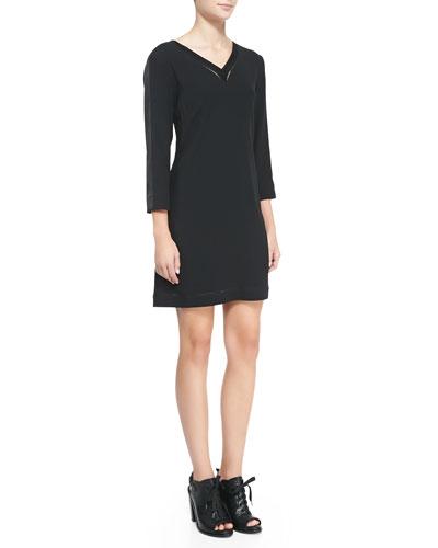 Rag & Bone Lydia Leather-Trim Jersey Dress
