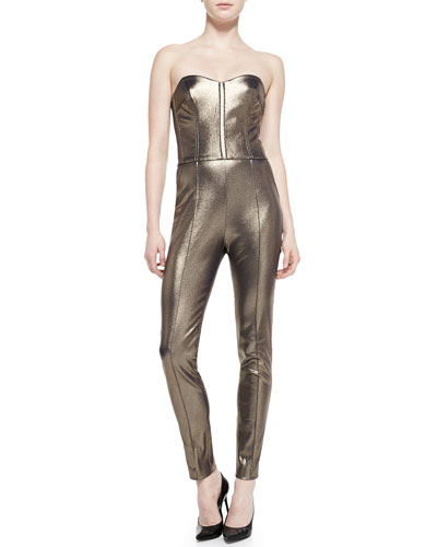 Veronica Beard Gold Foil Bustier Jumpsuit