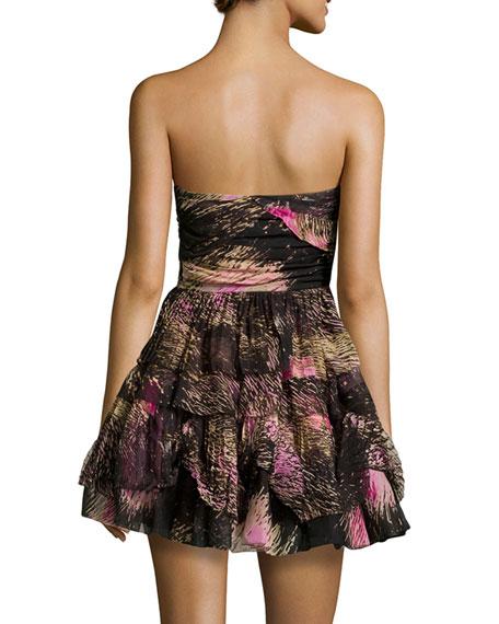 Diane von Furstenberg Brighton Strapless Printed Dress, Pink Wing