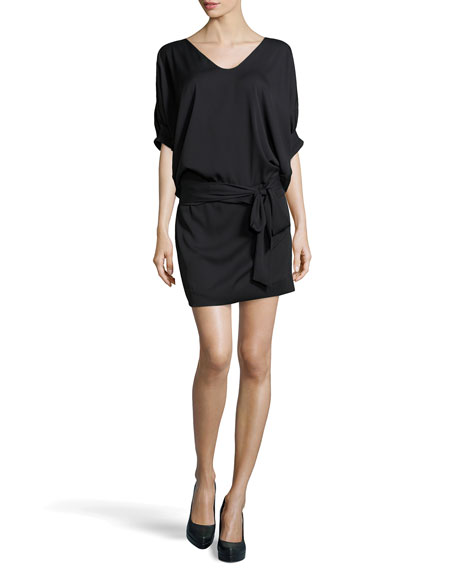 Edna Woven Dress, Black
