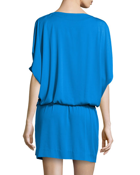 Edna Woven Dress, Fleck Blue