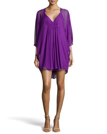 Fleurette Flutter-Sleeve Dress, Purple