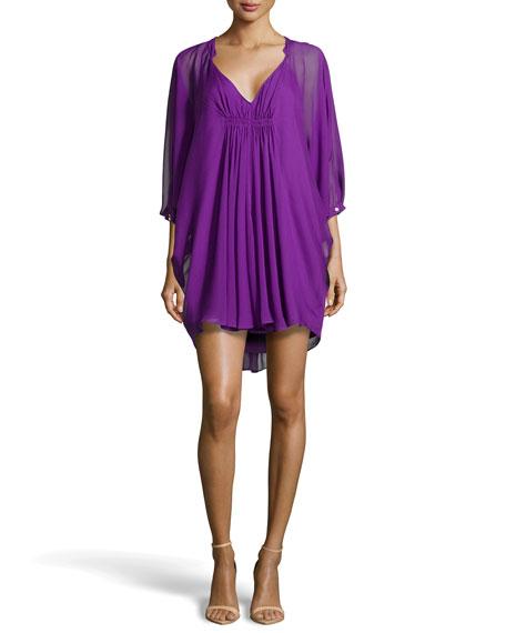 Diane von Furstenberg Fleurette Flutter-Sleeve Dress, Purple
