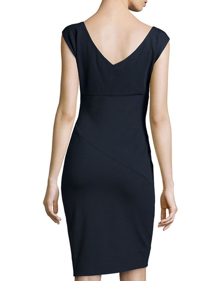 Knee-Length Ponte Dress, Navy