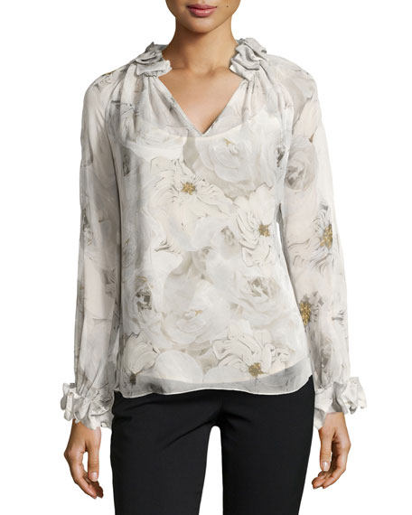 Long-Sleeve Floral Blouse