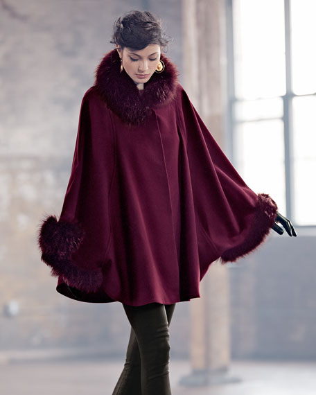 Cape Coat With Fur