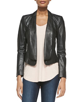 Neiman Marcus FOLD FRONT LEATHER JACKET