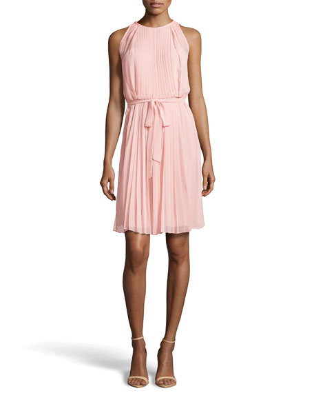 Tie-Waist Plisse Dress, Blush