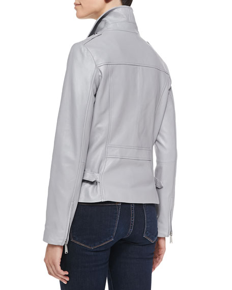 Motorcycle Zip-Front Leather Jacket