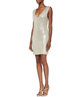 Alice + Olivia Sequin-Embellished V-Neck Dress