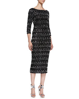 Alice + Olivia Stein Scalloped Beaded 3/4-Sleeve Sheath Dress