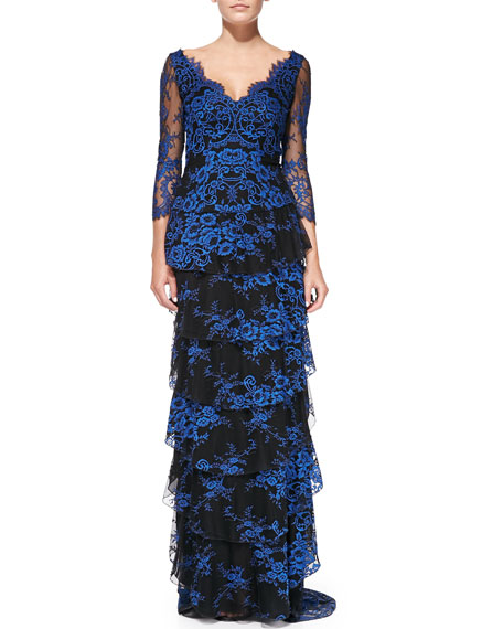 Alyssa Tiered Contrast Lace Gown