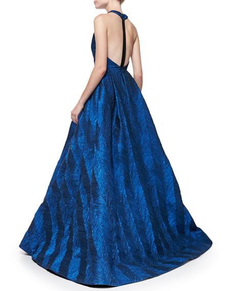 Teifer Feather-Pattern Metallic Ball Gown