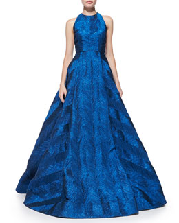 Alice + Olivia Teifer Feather-Pattern Metallic Ball Gown