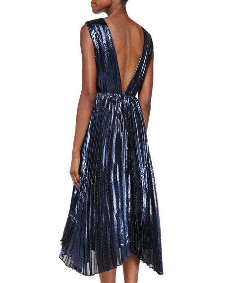 Alessandra Pleated Metallic Asymmetric Gown