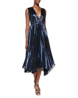 Alice + Olivia Alessandra Pleated Metallic Asymmetric Gown