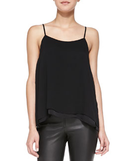 Alice + Olivia Silk Loose Crinkle Tank Top