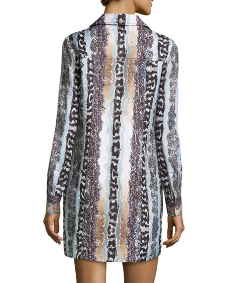 88026e02ff3a Diane Von Furstenberg Long-Sleeve Snake-Print Shirtdress, Oasis Snake Multi