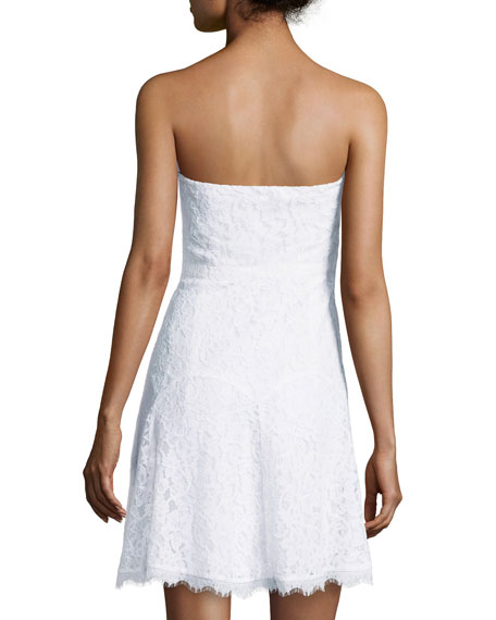 Strapless Lace Cocktail Dress, White