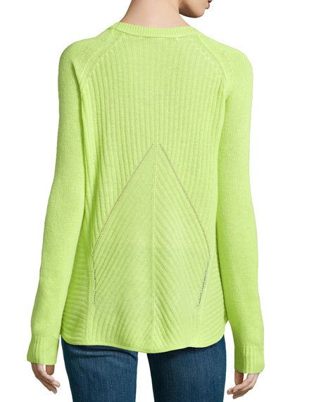 Combo-Knit Cashmere Sweater, Bright Lime