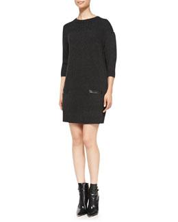 Milly Back-Zip Rib-Trim Sweaterdress