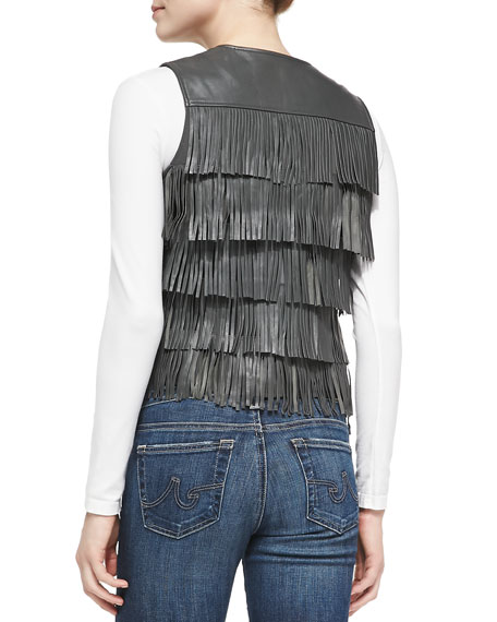 Cusp by Neiman Marcus Tiered-Fringe Leather Vest, Charcoal