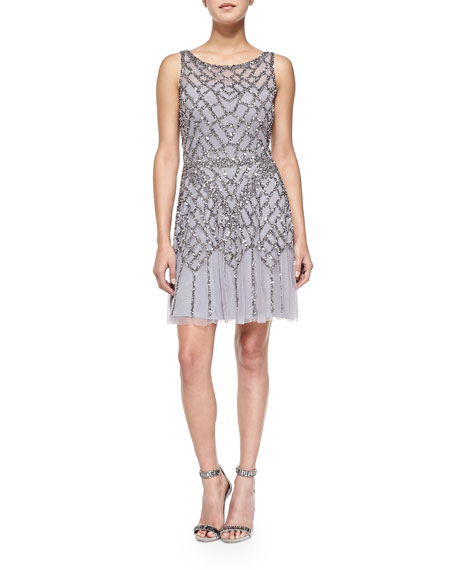 Sleeveless Sequined Chiffon Cocktail Dress, Ice Violet