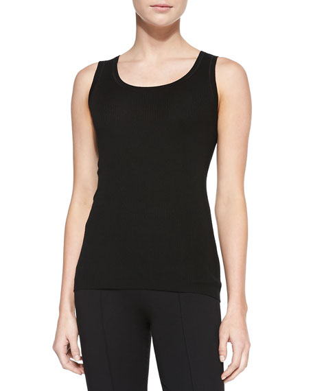 Ribbed Scoop-Neck Tank