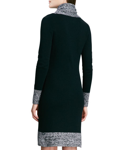Cashmere Sweaterdress with Marled Trim