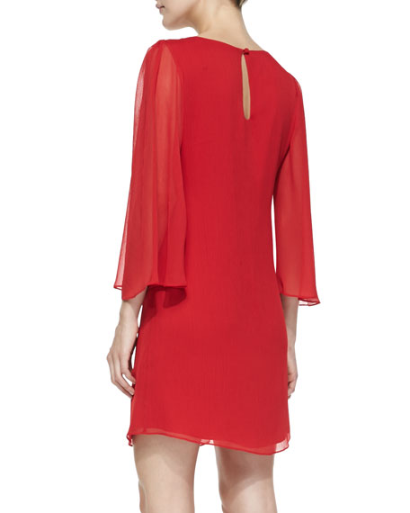 Odette Sheer-Sleeve Fitted Dress, Red